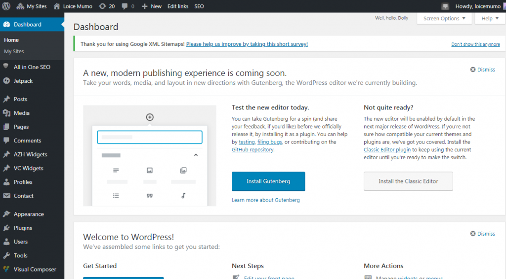 Set up WordPress